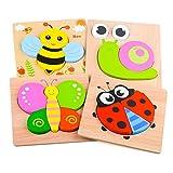 Puzzles de Madera Educativos para Bebé, Puzzles de Madera Juguetes Bebes Rompecabezas de Madera para Niños Niñas Juguete para Niños de 6 a 12 Meses Regalo de Cumpleaños para Bebés Edad 1 2 3 Niños