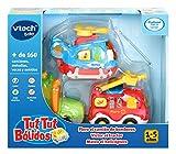 VTech TutTut Bólidos Pack de 3 coches con botón sorpresa, Piero el camión de bomberos, Víctor el tractor y Mateo el helicóptero, multicolor, única (3480-242122) , color/modelo surtido