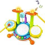 Tambor Infantil Instrumentos Musicales Infantiles Batería Juguete con Canciones Infantil Kit de Batería ElectróNica Idea de Regalo para Niños 3 4 5 6 Años