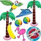 Yetech 9PCS Inflables Palmeras Flamingo Juguetes,Pelotas de Playa de plátano Dolphin Parrot,90CM Flotador Inflable de Piscina,Hawaii Luau Party Decoración Fondo Natación Juguetes - con Bomba de Aire