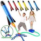 Bonbell Juguete Cohete de Aire, Lanzacohetes de Juguete para Niños, Juguetes al Aire Libre con 6 Cohetes de Espuma, Juguetes de Juegos de Jardín, Regalo para Nniño Niña de 3 a 12 años