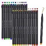 Rotuladores de punta fina, 24 Colores Plumas Fineliners Juego de Plumas de Color Fineliner Sketch Writing Plumas de Dibujo para Diarios de notas, Libros para tomar notas y colorear