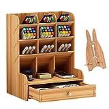 Marbrasse Organizador de escritorio de madera, multifuncional, para escritorio, papelería, hogar, oficina, almacenamiento con cajón (B11-color cereza)
