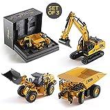 Top Race TR-123D - Excavadora de construcción a presión, camión volquete y modelos de cargador frontal, juguetes en una hermosa caja de regalo, embalaje para niños y adultos a partir de 3 años