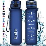Grsta Botella Agua - Botella de Agua Deportes 350ml Botella Deportiva Tritan de Plástico Sin BPA con Filtro & Marcador de Tiempo para Niños y Adultos, Hogar y Exterior