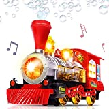 WyTosa Tren de Vapor Locomotora con Motor de Coche Burbuja Que sopla Bump & Go Tren, Burbuja Que sopla Tren de Juguete Locomotora a batería con luz y música Tren de Burbujas de Juguete para niños