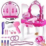 Tocador Niña Princesa, Centro de Belleza Juguete de Mesa de Maquillaje Rosa Tocador de Princesa glamorosa con Taburete Secador de Pelo Maquillaje Accesorios para Niños
