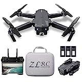 Mini Drone Plegable con Cámara 4K HD Posicionamiento Flujo óptico Interior RC Quadcopter Rotación 360° Trayectoria Vuelo para Adultos Niños Principiantes Gran regalo Juguete con Bolsa 3 Batería