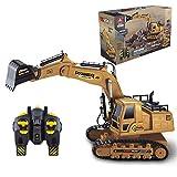 PTHTECHUS RC Excavadora, Vehículos de construcción RC de para niños, con Batería Recargable Control Remoto, Tractor de construcción Luces y Sonido Incluyey Cargador USB