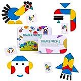 BBLIKE Tangram Madera, 36 Montessori Puzzle de Madera + 60 PCS Diseño Tarjetas de Apilamiento Juegos y Juguetes Educativos Clasificación de la Infancia