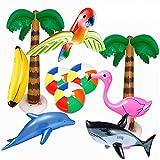 Pack de 10 palmeras hinchables rosas, flamencos, bolas de agua hinchables, plátano, loro, delfín, arcoíris, bolas de colores para decoración de fiesta hawaiana