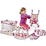 deAO Conjunto 5en1 para Muñecas Bebé Incluye Cuna, Carrito, Canguro Portabebés, Gimnasio y Bolso Cambiador Juguete de Imitación para Muñecas Bebé Jugar a Ser Mamá y Papá (Muñeca NO Incluida)