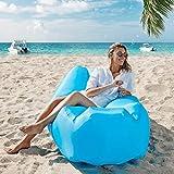 TOPOWN Sofá hinchable impermeable, portátil, hinchable, diseño de cojín, bolsa de almacenamiento integrada, plegable y resistente al desgaste, sofá para camping, playa, patio trasero