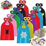 vamei 12 Piezas Disfraz Superheroe Capas de Superhéroe y Máscaras Disfraz Halloween Navidad Carnaval Fiesta Cumpleaños Juegos Regalos Disfraces Superhéroes para Niños Niñas