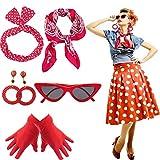 Yansion 50s Accesorios de Disfraz, Bufanda, Ojo de Gato, Gafas, Diadema y Guantes de los años 50, Accesorios de Disfraces para Mujeres y niños, Fiesta de Juego (Rojo)