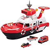 Speed&Go - Barco de bomberos con luces y sonidos, escala 1:64, incluye 3 vehículos, una lancha, una moto de agua y una ambulancia, para niños a partir de 3 años, funciona con pilas (incluidas)(46604)