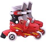 Disney J892301 Cars 2-Patines en línea con 3 Ruedas (Talla Ajustable 27-29), Color Rojo