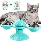NOBRANDED Juguetes interactivos para Gatos, Juguete de Molino de Viento para Gato, Juguete Giratorio para Gatos con Ventosa Cepillo para el Cabello Accesorios para Mascotas Juego Loco (Azul)