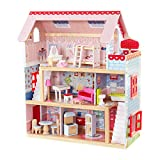 KidKraft-Chelsea Casa madera con muebles y accesorios incluidos, 3 pisos, para muñecas de 30 cm, multicolor, (65054)