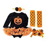 BabyPreg Mi Primer Traje de Halloween para niña Infantil Disfraz de Acción de Gracias Conjunto de Vestido de Calabaza para bebé (9-12 Meses, Calabaza Larga)