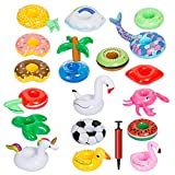 GWHOLE 18 Piezas Flotador Inflable Posavasos para Bebidas en Piscina + Inflador Portátil, Flotante Taza Soporte para Fiesta de Piscina Playa Mini Juguetes Hinchables