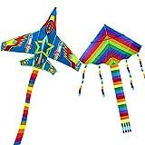 Yojoloin 2PCS Cometa para Niños Adultos,Cometa Arcoíris Grande y Cometa de Avión con Cola Larga Colorida y ala Fuerte,Juego al Aire Libre,Actividades de Primavera y Verano para Niños Niñas