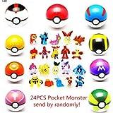 LSXSZZ8 9pcs Ball Pokemon Master Great Ultra GS Pokeballs + 24pcs Action Figures Cosplay Pop-up Ball Kid Toys Plastic Super Anime Pikachu Pokeball Figure Variable Bouncing Child