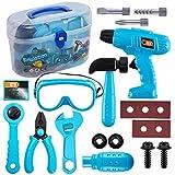 HERSITY Maletín Herramientas de Juguetes con Taladro y Gafas Bricolaje Juguetes Juegos de Imitación Regalos para Niños Niña