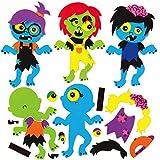 Baker Ross AX265 Kit Imanes Combinables Zombi - Paquete De 8, Manualidades Temáticas De Halloween Para Que Los Niños Decoren Y Exhiban