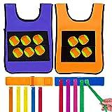 Yojoloin Juego al aire libre, juguetes de jardín para niños, niños, etiqueta de Dodgeball, chaleco adhesivo, cinturón adhesivo con colas de bolas, bola de lanzamiento de objetivo y cola de tiro 2 en 1