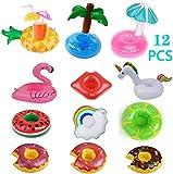 Lieberpaar Posavasos de Flotador Unicornio inflador Flamenco colchonetas y Juguetes hinchables de niños Adultos Fiesta Piscina (12 PCS)
