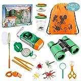 Tintec Kit Explorador Niños, Juguetes de Exploración 24 Piezas Al Aire para Niños de 3-10 Años, Juguetes Niños Educativos Regalo de Cumpleaños con Mochila Brújula Binocular Insectos Linterna