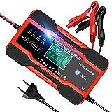 YDBAO Cargador Baterias Coches Moto 12V/24V 10A Cargador de Batería Inteligente Completamente Automático con Pantalla Táctil LCD y Múltiples Protecciones para Baterías de Plomo-ácido/AGM/Gel/EFB