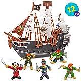 Barco Pirata con Piratas Modelos - Juguete perfecto para los Amantes de los Piratas, ideal para cumpleaños, regalo de Navidad, horas de diversión y entretenimient - interiores y exteriores