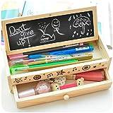 Shager - Estuche multifuncional de madera para lápices, cajón de almacenamiento para estudiantes y niños (20,5 x 8 x 6 cm)