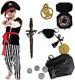 Tacobear Disfraz de Pirata Niño con Accesorios Pirata Parche Daga brújula Monedero Pendiente Disfraz de Halloween Pirata Niños (S 4-6 años)