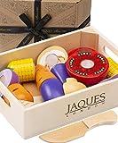 Jaques of London Alimentos de Juguete para niños Juego de Alimentos de Madera - Juguetes Montessori de Madera Alimentos de Juguete Juegos de Cocina Accesorios Juguetes niños 2 3 4 años
