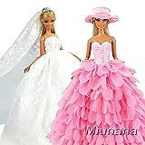 Miunana 2X Trajes de Vestidos Novia Princesa Juegos Ropa Vestir Nupcial Ropa Fiesta Boda para Regalo de 11.5 Pulgadas 28 - 30 CM Muñeca