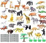 JZK Set de 53 Piezas Mini Juguetes Animales Selva plástica para niños Animales Salvajes Juguete Figuras Animales zoológico Regalo Fiestas cumpleaños Navidad