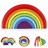 Afunti De Madera Arco Iris Apilado Juego Aprendizaje Juguete Geometría Bloques De Construcción Juguetes Educativos para Niños Bebé 7 Colores