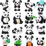 16 figuras de panda lindas figuras de panda, juguetes de minipanda, miniatura, muñeco de hadas, decoración para tartas, recuerdos de fiesta