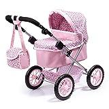 Bayer Design- Cochecito Trendy con Bolsa, Ajustable, Carrito de muñeca, Color rosa con estampado de leopardo (13002AA)