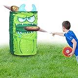 KreativeKraft Juego Lanzamiento del Monstruo Verde! | Juguete Jardin Niños para Fiestas De Verano | Juguete Exterior Infantil Corn Hole De 4 Piezas con 3 Discos Frisbee | Juguete Verano Niños