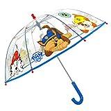 Paraguas Transparente Cúpula para Niños Patrulla Canina - Paraguas Paw Patrol Niño 3 4 5 Años - Apertura Manual Seguro con Dibujo Perritos Chase Marshall Rubble - Diámetro 64 cm PERLETTI (Azul)