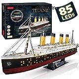 CubicFun Puzzle 3D LED Titanic Grande Barco Buque Embarcacion Kits de Construcción Modelo Juguetes para Adultos y Adolescentes, 266 Piezas