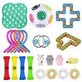 Fidget Toy Packs Xpassion Kit De Juguetes Sensoriales Juguete Antiestres Fidget Sensory Toys para Autismo Necesidades Especiales para Aliviar El Estrés PAQUETE DE 21 EN COLOR ALEATORIO