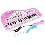 Infantil Electrónicos Teclado Piano con Micrófono 37 Llave Instrumento Juguete Bebé Regalo Entrega, color Aleatoria Azul Rosa