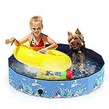 Aytop - Piscina para perro plegable, para bañera de PVC para perro, diseño antideslizante para niños, piscinas con pelotas, patujaritas para perros pequeños y gatos, color azul (120 cm x 30 cm)
