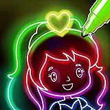 Juegos de colorear y dibujar para niños: páginas para colorear para niñas y niños🌟🎨 - Kids Doodle, Glow, Neon Coloring Book