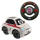 Chicco Fiat 500 Sport Blanco, Coche Teledirigido para Niños con Control Remoto Intuitivo en Forma de Volante, Luces y Sonidos, Coche Radiocontrol Apto para Niños y Niñas de 2 a 6 Años